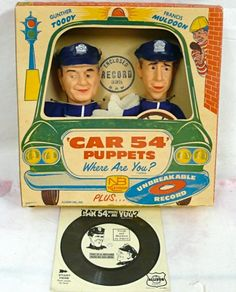 1962 Car 54, Where Are You? Hand Puppets — Joe E. Ross as 'Officer Gunther Toody' & Fred Gwynne as 'Officer Francis Muldoon'