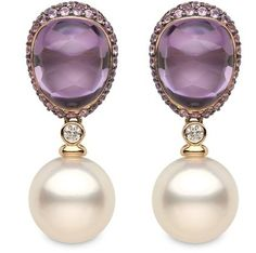 "Yoko London ~ ""Calypso"" collection - 18K rose Gold earrings with 0.19cts of Diamonds, 18.41cts of Amethyst, 4.09cts of pink Sapphires & South Sea Pearls 14-15mm."