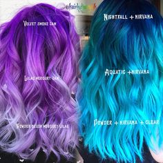 Joico Hair Color, Vivid Hair Color, Hair Color Purple, Cool Hair Color, Hair Colors, Vivid Colors, Colours, Color Melting Hair, Pulp Riot Hair Color