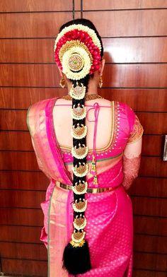 New South Indian Bridal Hair Style Hairdos Blouse Designs Ideas Bridal Hairstyle Indian Wedding, South Indian Bride Hairstyle, Indian Wedding Hairstyles, Bride Hairstyles, Hairstyle Ideas, Blouse Back Neck Designs, Bridal Blouse Designs, Bridal Braids, Bridal Hairdo