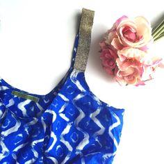 Velvet brand blue blousy patterned tank top. Brand is velvet. Blue patterned tank with straps with a rhinestone metallic appearance • no trades• Velvet Tops Tank Tops