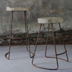 Design Vintage | Mango Wood Stools | Industrial Bar Stools | Loko