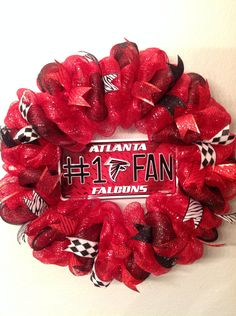 "Atlanta Falcons inspired Wreath Deco Mesh 26"" Wall Door Hanger Decoration #1 Fan Plate red black Handmade New by SportsNutz on Etsy"