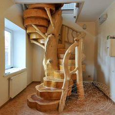 Outstanding Design of a Tree Trunk Staircase – Architecture Admirers