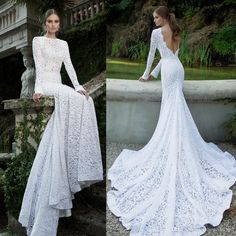 2015 Lace Wedding Dresses Cheap Berta Bridal Long Sleeves Wedding Gowns Bateau Neckline Deep V Backless Chapel Train Mermaid Bridal Gowns Online with $100.51/Piece on Gonewithwind's Store | DHgate.com