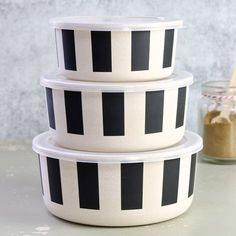 Set of 3 Black Striped Food Storage Containers at lisaangel.co.uk