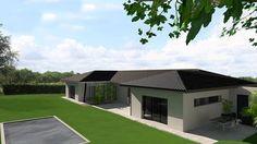 Maison contemporaine de plain pied en C à tuiles noires avec grandes baies vitrées et fenêtres panoramiques - Atelier Scénario Architecte