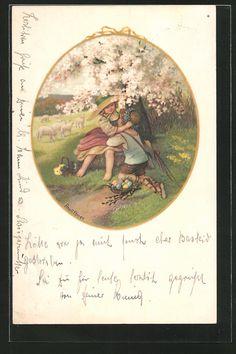 carte postale ancienne: CPA Illustrateur Pauli Ebner: ein junger Hirte bekommt einen des fleurskranz von seiner Geliebten