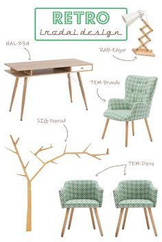 Ha a retro stílus kedvelője vagy, akkor ez a kis ötlet biztosan tetszeni fog neked.#retro#retrostyle#design#irodaidesign#iroda#dolgozószoba#office#officedesign#workroom#desk#íróasztal#szék#chair#íróasztalilámpa#desklamp#ideas#ötlet#polc#shelf#green#zöld Ravenna, Office, Dining Chairs, Furniture, Home Decor, Decoration Home, Room Decor, Dining Chair, Home Furnishings