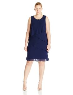 S.L. Fashions Women's Plus-Size Sleeveless Tiered Dress with Necklace >>> Check this awesome image  : Dresses for women