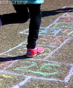 One great way to get your kids outside in the sunshine and learning at the same time is to combine fun outdoor activities with math games. This Rainbow Hopscotch Activity is one of the coolest math games for kids. Outdoor Activities For Kids, Rainy Day Activities, Preschool Activities, Outdoor Games, Backyard Games, Activity Days, Outdoor Play, Family Activities, Summer Crafts For Kids
