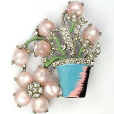 Reinad Pink Moonstone Flowers in Flowerpot Pin