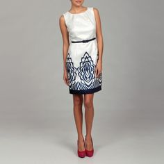 Cece's New York Women's Abstract Belted Dress | Overstock.com