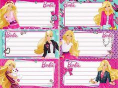 Professora Michelle: Etiquetas personalizadas sem escrita Barbie Theme Party, Barbie Birthday Party, Superhero Classroom Theme, Classroom Labels, Barbie Birthday Invitations, Name Tag Design, School Name Labels, Notebook Labels, Kids Stickers