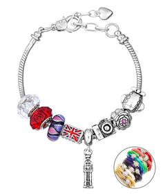 Love this Red & Silvertone Crystal London Bracelet on #zulily! #zulilyfinds