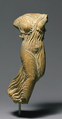 Statuette of Nike (personification of victory), late 5th century B.C.; Classical  Greek  Terracotta  H. 7 in. (17.8 cm)  Rogers Fund, 1907 (07.286.23)
