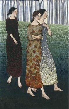 """Brian Kershisnik"""" Fall Coming Like Three Sisters """"...another great example of girls...perspective, tree line, etc."""
