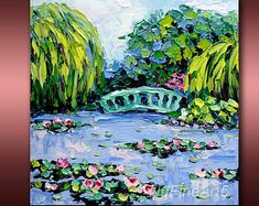 """Lily Pond Monet's Water Lily Garden Giverny Impasto Oil Painting France Small Palette Knife Original Art on Canvas 8x8""""  Ready to Hang"""