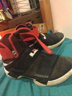 official photos 34bab ea2ff Nike Lebron James Soldier 10 - Size 9 Basketball Shoes Sneakers Black Red  Bred  fashion