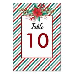 #Holiday Poinsettia Stripes Table Number Cards - #floral #gifts #flower #flowers