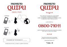 Un folleto del proyecto Quipu que anuncia el programa. GlobalVoices en espanol