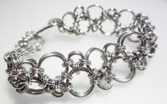 Chainmaille Bracelet  Hodo Weave  Aluminum by RedBessBonney, $40.00