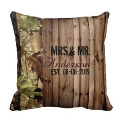 Rustic barn wood western country ~Wedding Throw Pillows Don't forget personalized napkins for the big day! Brown,ivory, and green would be perfect! #country #camo www.napkinspersonalized.com