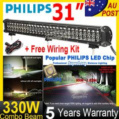 "31inch 330W PHILIPS LED Work Light Bar Flood Spot Offroad UTE 4x4 Pickup 30/32"" in Vehicle Parts & Accessories, Car, Truck Parts, Lights, Indicators 