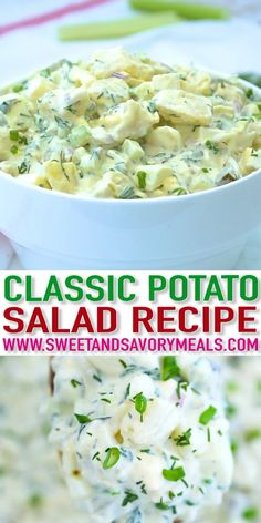 Classic Potato Salad is reminiscent of the old days of family get-togethers. It is an easy recipe to make, that pairs well with pretty much any dish! #potatosalad #potatorecipes #summerrecipes #sidedish #sweetandsavorymeals #recipevideo #vegetarianrecipes
