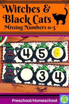 Witches & Black Cats Missing Numbers - Halloween Witches & Black Cats Activities - Halloween Math, Halloween Witches, Halloween Activities, Morning Activities, Kids Learning Activities, Number Activities, Numbers Preschool, Preschool Math, Preschool Art Projects