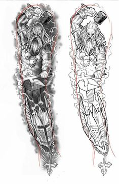 Původní návrh Full Tattoo, Full Sleeve Tattoo Design, Full Sleeve Tattoos, Tattoo Design Drawings, Tattoo Sketches, Tattoo Designs, Norse Tattoo, Celtic Tattoos, Forarm Tattoos