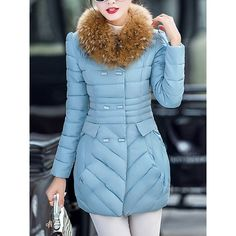 Faux Fur Collar Pocket Quilted Padded Coat ($48) ❤ liked on Polyvore featuring outerwear, coats, faux fur coat, pocket coat, quilted coat, long coat and long quilted coat