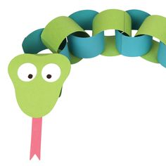 Green and Blue Paper Chain Snake Animal Crafts For Kids, Fun Crafts For Kids, Craft Activities For Kids, Toddler Crafts, Preschool Crafts, Safari Animal Crafts, Jungle Book Party, Jungle Theme Parties, Safari Party