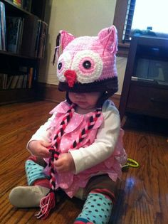 My grand daughter in her owl costume. Check out my (Margery Heyl) Long Distance Grandma and Mama board for the pins that inspired my daughter.