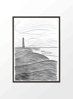Danish Seaside Poster- Minimalist Landscape by Project Nord Beach Condo Decor, Beach Drawing, Minimalist Landscape, Beach Posters, Black And White Posters, Condo Decorating, Traditional Landscape, Scandinavian Home, Poster On