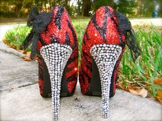 Red and black glitter heels