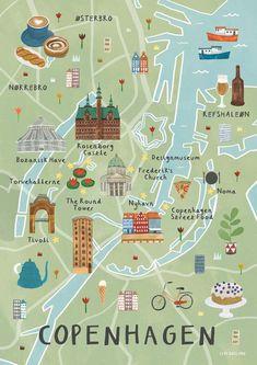 Illustrated map of London by Livi Gosling (via Etsy). Travel Maps, Travel Posters, Places To Travel, Map Posters, Movie Posters, Copenhagen Travel, Copenhagen Denmark, Stockholm Sweden, Copenhagen City