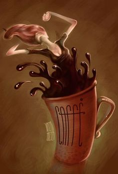 Photo - Google+ Painting of woman coming out of coffee cup