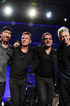 The Edge, Larry Mullen Jr., Bono, and Adam Clayton, of U2.