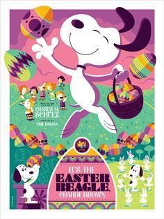 Tom Whalen Its the Easter Beagle Charlie Brown Variant Print Poster Peanuts x 50 Charlie Brown Easter, Charlie Brown Und Snoopy, Tom Whalen, Snoopy Und Woodstock, Snoopy Love, Peanuts Cartoon, Peanuts Snoopy, Purple Art, Blue Art