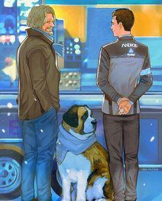 : Illustration Description Detroit become human Connor, Hank, Sumo By: Yvette Ycz Detroit Being Human, Detroit Become Human Connor, Luther, Playstation, Fanfiction, Pixar, Sumo, Videogames, Quantic Dream