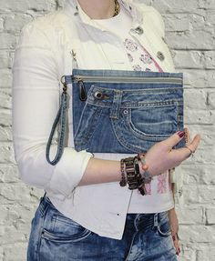 Jeans clutch wristlet make up cosmetic zipper bag pouch case with strap recycled denim by BukiBuki on Etsy