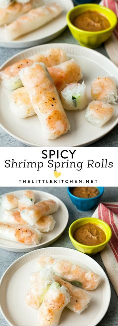 Spicy Shrimp Spring Rolls from thelittlekitchen.net #seafoodrecipes