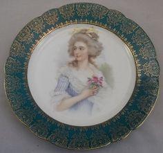 Antique M Bavaria Portrait Cabinet Plate Gold Green Crown Mark Teal Blue Green   eBay
