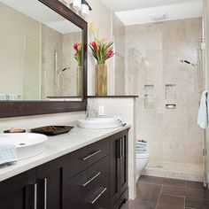 Small bathrooms on pinterest double sinks narrow for Bathroom remodel 5x9