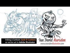 Drawing Tutorial: Jack-O-Lantern Halloween Cartoon in Adobe Illustrator - YouTube