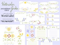 Journal embellishments & label set in a Watercolor Garden Design