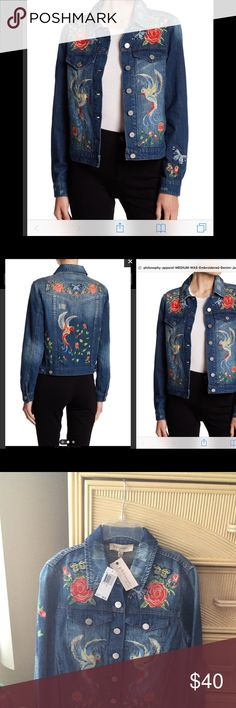 Gorgeous Philosophy NWT EmbroideredDenimJacket SzS Beautiful Versatile Denim Jacket  Sz S, bird and flower embroidery, as well as faded distressed details, (pls see pics for color)front button closure,2chest button pockets,2side slash pockets, 2 inside pockets..100%cotton Eyecatching! Philosophy Jackets & Coats Jean Jackets