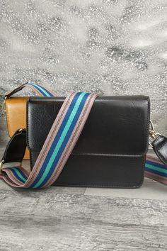 Τσαντάκι ώμου-χειρός με πολύχρωμο strap ώμου 'Rainbow' Μαύρο