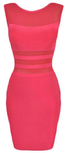 Pink Mesh Insert Bandage Dress